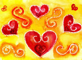 Uma aquarela de coração — Fotografia Stock