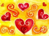 Heart a watercolor — Stock Photo