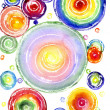 Watercolor a rainbow circles - Stok fotoğraf