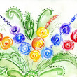 Stock Photo: Watercolor painting of flowers