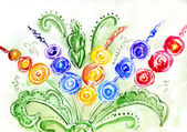 Watercolor painting of flowers — Stock Photo