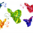 Watercolors of the butterfly of the miscellaneous colour — Stock Photo