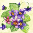 Watercolor painting of flowers — Foto Stock