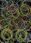 Fundo de muitos elásticos multi-coloridas escrita — Fotografia Stock