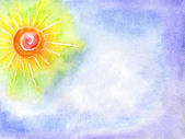 Watercolor the sun in the sky — Stock Photo