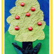 Tree from a fabric and buttons — Stock Photo