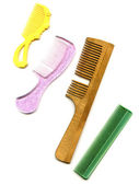 Old comb with hair isolated on white — Stock Photo