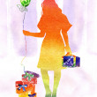 Watercolors varicoloured girl with gift with  by ball - Stok fotoraf