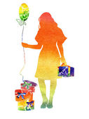 Watercolor the iridescent girl with gifts and a sphere — Stock Photo