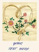 Broderie de coeur et fleurs — Photo