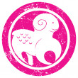 Zodiac sign aries stamp — Stock fotografie