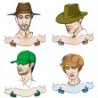 Постер, плакат: 4 different men with hats