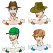 Royalty-Free Stock Photo: 4 different men with hats