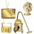 Golden retro electric objects — Stock Photo