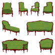 Antique furniture green set - Stok fotoğraf