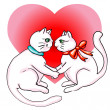Stock Photo: Cute cats valentine s day