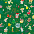 Stock Photo: Green christmas pattern