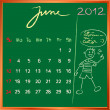 2012 calendar 6 june for school — Foto de Stock