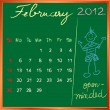 Stock Photo: 2012 calendar 2 february for school