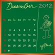 Stock Photo: 2012 calendar 12 december for school