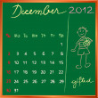 2012 calendar 12 december for school — Foto Stock