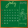 2012 calendar 7 july for school — Stock Photo