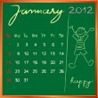 2012 calendar 1 january for school — Foto de Stock