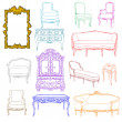 Stock Photo: Rococo furniture doodles