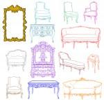 Rococo furniture doodles — Stock Photo