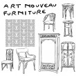 Foto Stock: Jugendstil furniture doodles