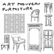图库照片: Jugendstil furniture doodles