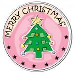 Christmas tree sticker — Stock Photo
