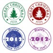 Winter greetings stamps — Stock Photo