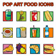 图库照片: Pop art food icons