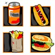 Halloween scary fast food meal icons — Stock Photo
