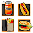 Halloween scary fast food meal icons — Foto de Stock