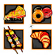 Halloween scary fast food icons — Stock Photo