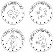 4 christmas coin stamps snowman star glove globe — Stock Photo