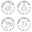 4 christmas coin stamps house tree moon angel — Stockfoto