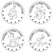 4 christmas coin stamps toys candy bell — Stock Photo