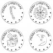 4 christmas coin stamps snowflake present moon candy — Stock Photo #10275571