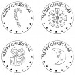 4 christmas coin stamps snowflake present moon candy — Stock Photo