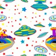 Seamless pattern with flying saucers - Stock Photo