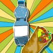 Pop art shaorma and water — Stock Photo