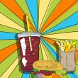 Pop art cheeseburger, fries and soda - Stock Photo