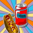 Pop art beer and hot dog — Stock Photo