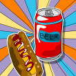 Pop art beer and hot dog — Stock fotografie