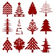 Five abstract christmas tree stencils — Stockfoto