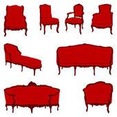 Antique furniture armchairs set — Stock Photo
