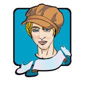 Mladý muž s kamelot čepici — Stock fotografie